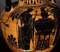 An illustration of Medea on a greek vase